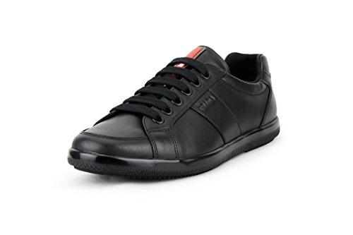 Prada Men's Plume Calf Leather Low-top Trainer Sneaker, Black (Nero) 4E2845 (9 US / 8 UK)