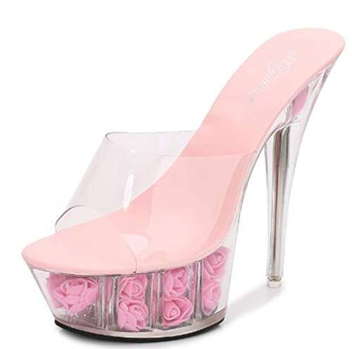 Plataformas De Tacones Altos De Mujer Plataforma De 15 Cm Peep-Toe Sandalias De Tacón De Aguja Transparentes Fiesta De Boda Zapatos Elegantes para Damas