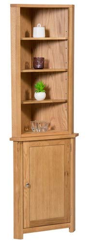 Hallowood Waverly Small Compact Corner Display Cabinet in Light Oak Finish | Storage Cupboard with Shelf | Solid Wooden Unit, ((WAV-CUP784-SET)