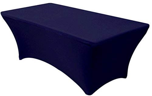 Banquet Tables Pro Navy Blue 6 ft. Rectangular Fitted Stretch Spandex Tablecloth