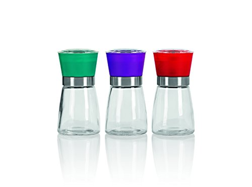 gourmetmaxx 09894 Gewürzmühle Keramik| 3-teiliges Set | Keramikmahlwerk, lila/rot/türkis