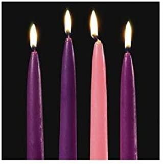 Candles4Less - 10 Inch Advent Taper Candles Set - (36 Purple - 12 Pink) Perfect for Advent Ceremonies Dripless and Smokeless Advent candles with Lead Free Cotton Wicks Made in USA