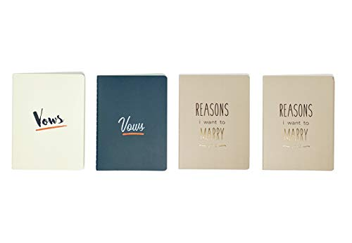 Wedding Vow Books | Notebook Keepsakes (4 Book Set, 2 His & Her Vows + Bonus 2 Reasons I Want to Marry You Booklet Journal) - Vow Renewal - Bridal Shower Gifts - Future Mrs & Mr. Bride to Groom Gift