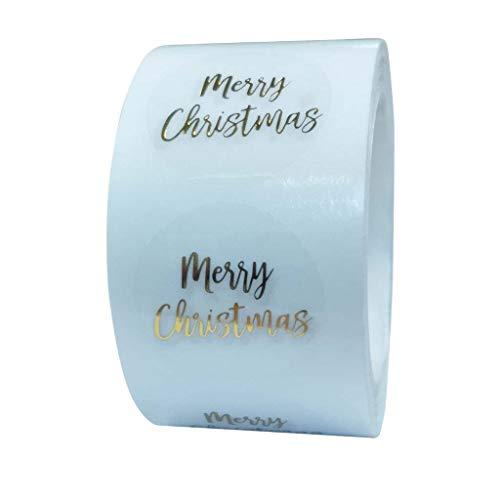 500 pz/rotolo Rotondo Trasparente Oro Foil Buon Natale Adesivi Sigillo Etichetta per Timbro Buste Biglietti Inviti Pacchetti Regalo Scrapbooking Decorazione