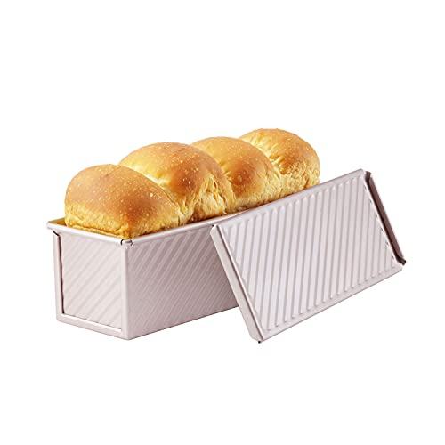 CHEFMADE Mini Pullman Loaf Pan with Lid, 0.66Lb Dough Capacity Non-Stick Rectangle Corrugated Toast Box for Oven Baking 2.8' x 8.1'x 2.8'(Champagne Gold)