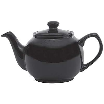 Service Ideas TPCE16BL Teapot, Ceramic, 16 oz, English Style, Black