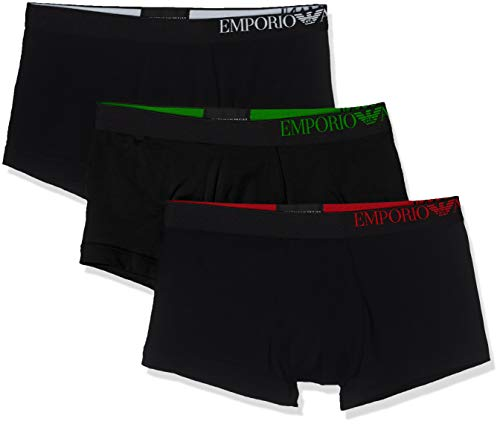 Emporio Armani Underwear Herren Multipack - B-Side Logo 3-Pack Trunk Herrenslip, Schwarz Nero 21320), Large (Herstellergröße:L)