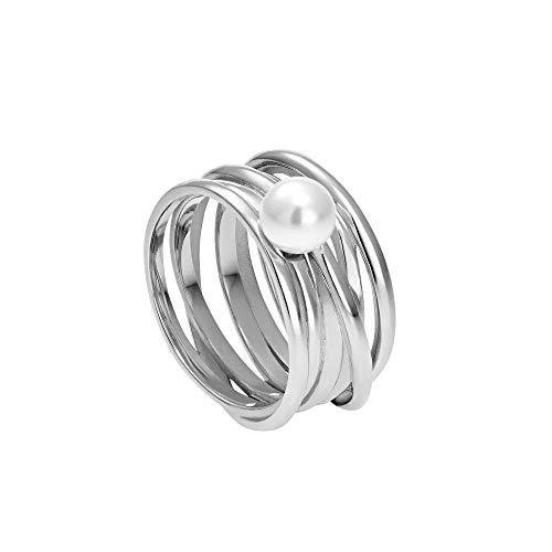 Heideman Ring Damen Serpens aus Edelstahl Silber farbend poliert Damenring für Frauen mit Swarovski Perle Weiss grau oder schwarz rund 6mm Perlring Weiss Gr.62 hr24268-3-11-62