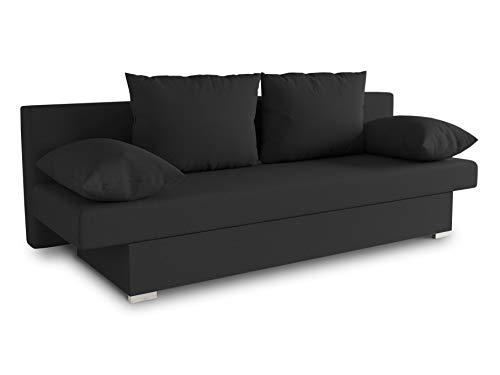 Schlafsofa Tina inklusive Bettkasten - Sofa mit Schlaffunktion, Bettsofa, Couchgarnitur, Couch, Bett, Schlafmöbel (Alova 04 (Schwarz))