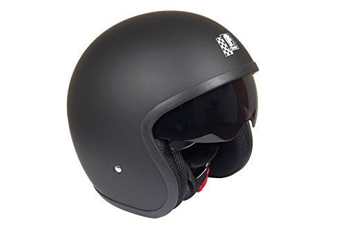 Casco de moto negro mate, Custom