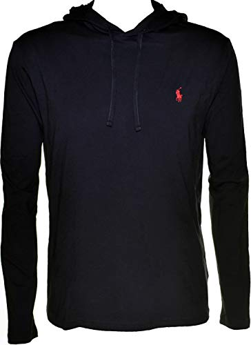 Polo Ralph Lauren Mens Jersey Knit Hoodie Tee (Black, Large)