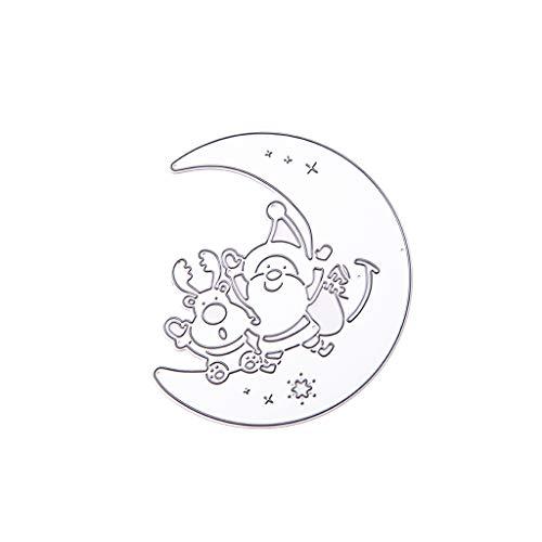 Unwstyu, fustelle in metallo a forma di luna, Babbo Natale, per fai da te, scrapbooking, goffratura, biglietti, decorazioni