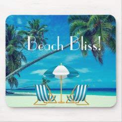 Mauspad mit rutschfestem Gummi-Mauspad, Beach Bliss!, Liegestuhl, Strand mit Palmen, rechteckiges Mauspad für Computer, Laptop, 25,4 x 30,5 cm