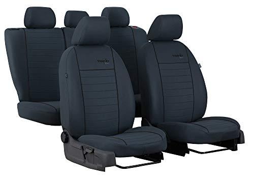 Carpendo Sitzbezüge Auto Set Autositzbezüge Schonbezüge Vordersitze und Rücksitze mit - Airbag geeignet - Trend-Line - Schwarz Grau