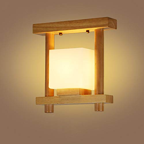 Plafondlamp van hout, creatief, plafondlamp, van glas, plafondlamp, balkon, E27, 110 V ~ 220 V (maat: B)