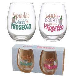 Pop de Prosecco Set van 2 Glazen Tumblers - Prosecco Slogans