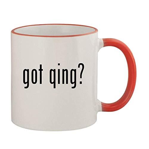 got qing? - 11oz Ceramic Colored Rim & Handle Coffee Mug, Red