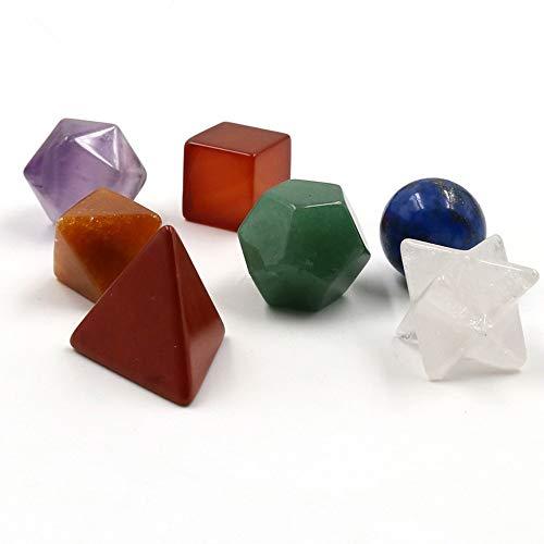 AITELEI Piedras Naturales Curación Cristal de Chakra Piedras Sólidos platónicos Conjunto de geometría Decoración para el hogar 7 Chakra/Amatista/Cristal Blanco
