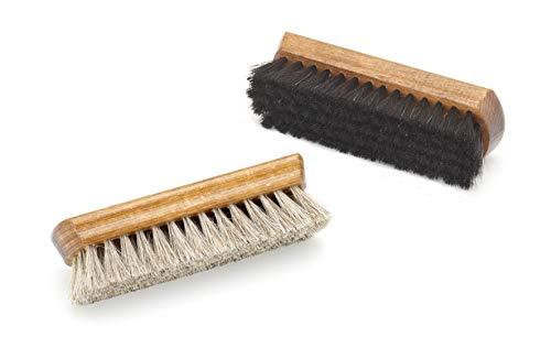 Tadabo Set 2 x Schuhbürsten hell und schwarz mit Rosshaar bestückt   Schuhpflege   Glattlederpflege   Glanzbürste made in Germany