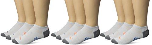 Saucony Men's Low Cut Socks, White, M 8-12 Shoe, 9 Pair