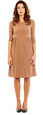 Womens Stylish Elegant Flare Dress, 3/4 Sleeve, Scoopneck by Velucci