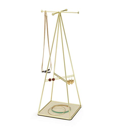 Recet Jewellery stand, metal jewellery hanging organiser with tray base, jewellery holder for storage earrings, rings, necklaces (B)