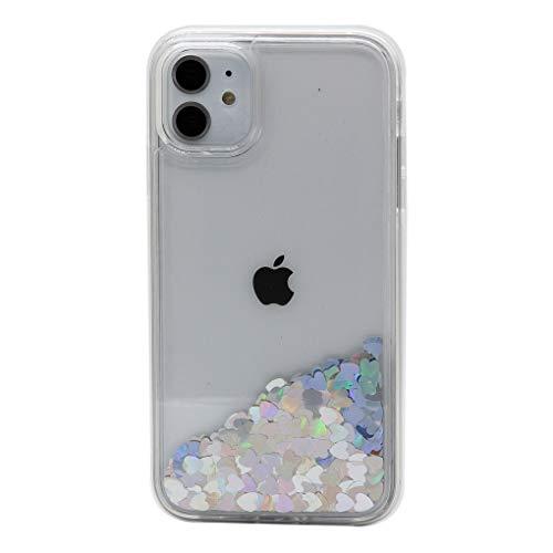 Keyihan Cover per iPhone 11 (6.1 Pollici) Glitter Liquido Custodia Antiurto Trasparente Disegni Brillantini Paillettes a forma di cuore Protettiva Case Rigida Morbida Silicone Paraurti (Argento)
