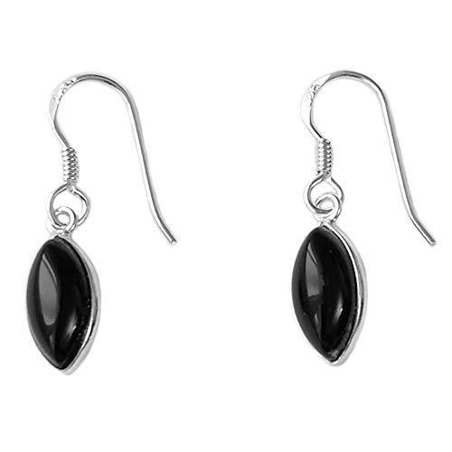 Bijoux et Objets - Pendientes ónix negro, plata maciza 925 - Tamaño de piedra 6x12mm