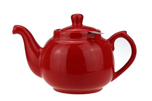 Urban Lifestyle Teekanne/Teapot Klassisch aus Keramik mit Nicht-tropfendem Ausguss Notting Hill 1,0L (rot)