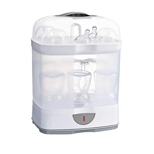 Chicco SterilNatural 2 in 1 Babyflaschen-Sterilisator, Einstellbarer Dampfsterilisator für Babyflaschen, mit 2 Konfigurationen, Schnell und Einfach zu Bedienen, bis zu 6 x 330 ml Babyflaschen, weiß