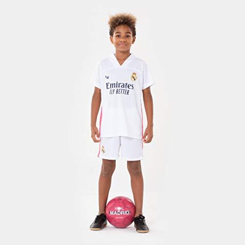 Morefootballs - Offizielles Real Madrid Heimspiel Trikot Set für Kinder - 2020/2021-128 - Vollständiges Tenue mit Trikot und kurzer Hose - Fussball Shirt und Shorts