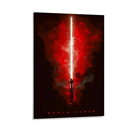 DRAGON VINES Star Wars Darth Vader Revenge of The Sith - Lienzo decorativo para pared (50 x 75 cm), diseño de sable láser rojo