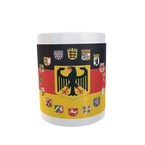 U24 Tasse Kaffeebecher Mug Cup Flagge Deutschland mit 16 B&esländer Wappen