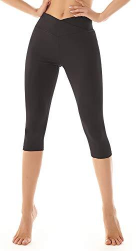 Beelu Sport Leggings Capri Tights Damen Hohe Taille 3/4 Yogahose Blickdichte Kurz Laufhos Fitness Hosen Jogginghose Short(Schwarz M)