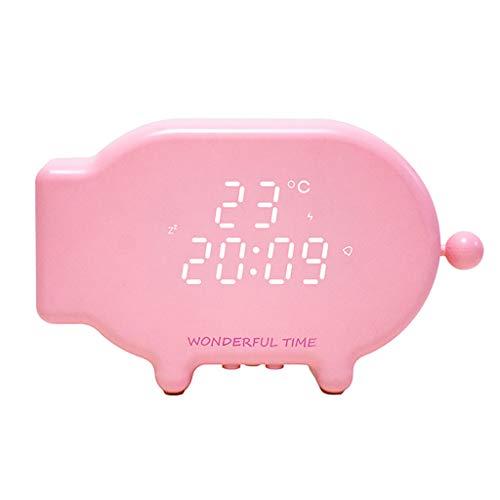 Zarupeng Cartoon Wake Up Klok Snooze Clock Lichtwekker met USB-oplader draadloze wekker geluid en lichtbesturing Lichtthermometer
