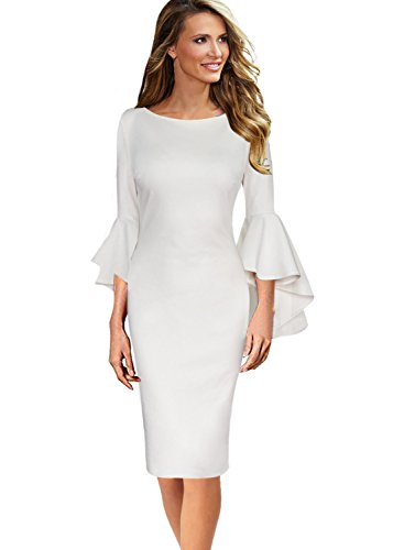 VFSHOW Womens Ruffle Bell Sleeves Business Cocktail Party Sheath Dress 1223 WHT 3XL