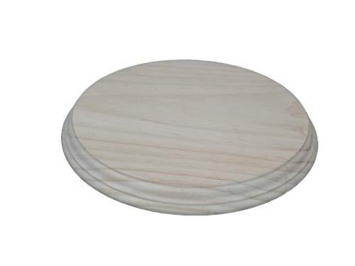 Peana madera redonda. En madera de pino macizo, torneado. En crudo, se puede pintar. (Diámetro 26 cms). Alto: 2.5 cms.
