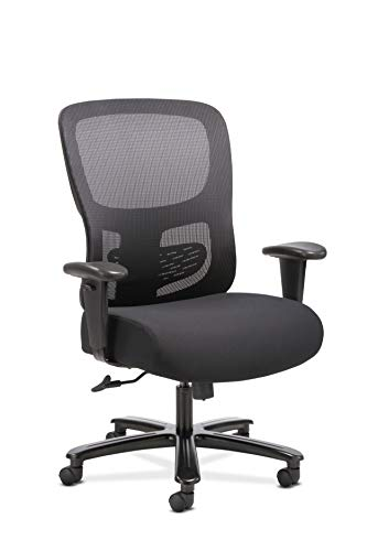 Sadie Big and Tall Office Computer Chair, Height Adjustable Arms with Adjustable Lumbar, Black...