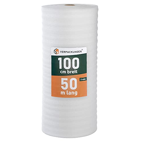 BB-Verpackungen 50 m² Trittschalldämmung 1,0 x 50 m (3 mm stark, sehr gute Schall- und Wärmedämmung) - Sets zwischen 25 m² und 500 m²