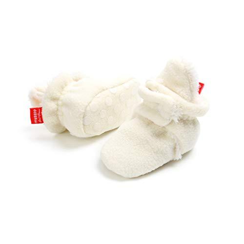 EDOTON Unisex Neugeborenes Schneestiefel Weiche Sohlen Streifen Bootie Kleinkind Stiefel Niedlich Stiefel Socke Einstellbar (0-6 Monate, Weiß)
