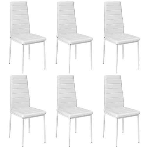 Z-LIANG Silla de Comedor 6 unids sillas Comedor Comedor casa Bar nórdico Estilo Moderno Horizontal línea Duradera salón sillón Sala de Estar HWC (Color : White)