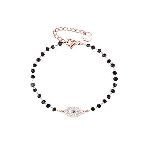 JIEERCUN Pulsera de Acero Inoxidable para Mujer, Oro Rosa, pequeño Encanto, Negro, Cadena de Cristal, joyería, Regalo, brazaletes (Color : A)