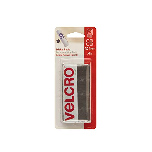 VELCRO Brand - Sticky Back Hook and Loop Fasteners | Perfect for Home or Office | 7/8in Squares | Pack of 32 | Black