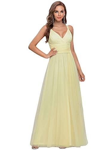 Ever-Pretty Vestito da Sera e Cerimonia Donna Stile Impero Scollo a V Tulle Abiti da Sposa Giallo 48