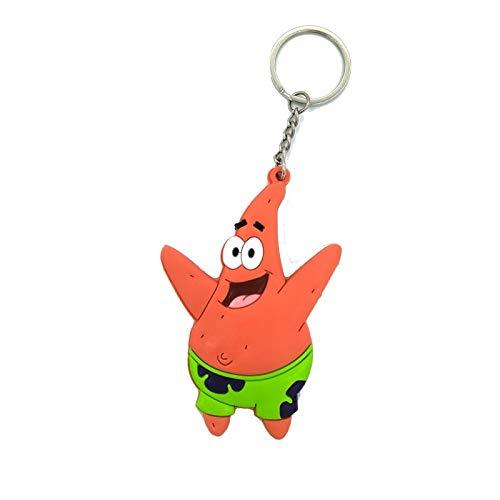 TUDUDU Lustige Patrick Star Anime Keychain Keyring Geschenke Key Holder Dekorationen Anhänger PVC Funny Cosplay Kids