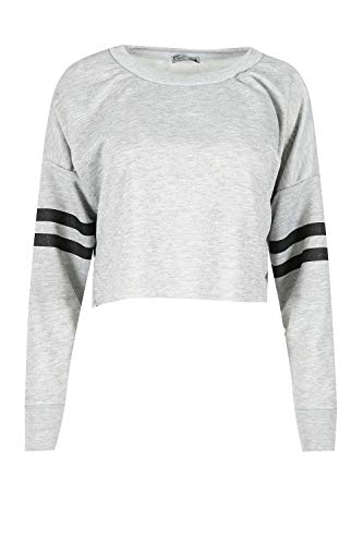 Fashion Star Womens Sports Stripe Baggy Crop Top Sweatshirt Grey S/M (UK 8/10)