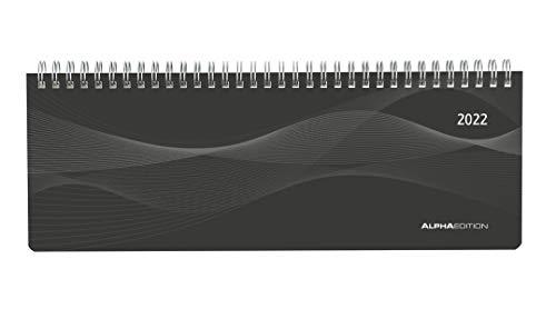Tisch-Querkalender Profi schwarz 2022 - Büro-Planer 29,7x10,5 cm - Tisch-Kalender - 1 Woche 2 Seiten - Ringbindung - Alpha Edition