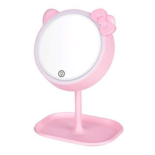 DUKAILIN Espejo Orejas de Gato Rosa con Espejo Led Espejo de pie Espejo de Maquillaje con Pantalla táctil Espejo de Maquillaje de Escritorio Regulable