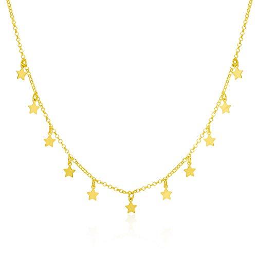 WANDA PLATA Collar Gargantilla Estrellitas Pequeñas para Chica Joven, Mujer Joven Plata de Ley 925 con Baño de Oro, Colgante Estrella