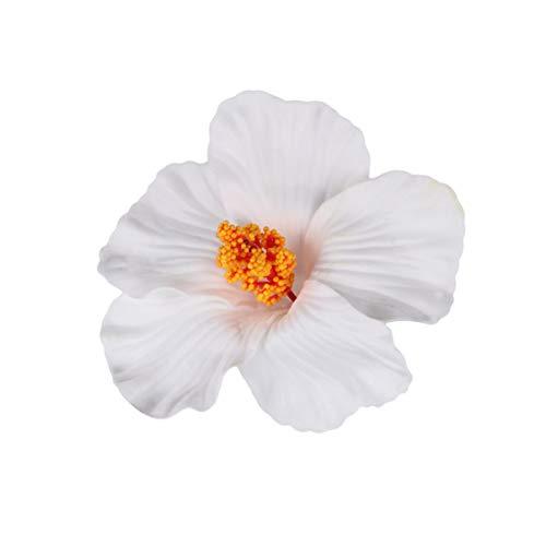 Minkissy 10 stücke hawaii party hibiskus blume haarnadeln sommer party diy dekorationen künstliche hibiskus blume haarspangen hula mädchen headwear parteibevorzugungen liefert (weiß)